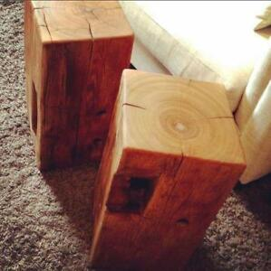 Large Barn Beam Block Side Tables Locally Reclaimed