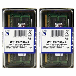 KINGSTON 8GB (2x4GB DDR3 PC3-8500 1066MHZ SODIMM MEMORY