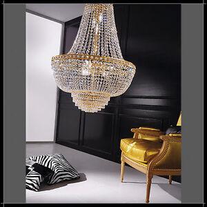 Lampadario-moderno-acciaio-cromo-cristallo-lampada-sospensione-salone ...