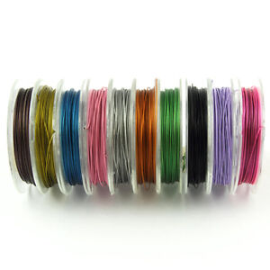 100 Metres Tigertail Wire 0.45mm - 10 Colours x 10 M