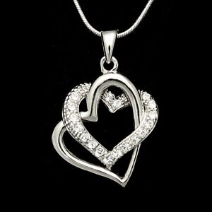 Double Heart Valentine Love Crystal Pendant Necklace VP184