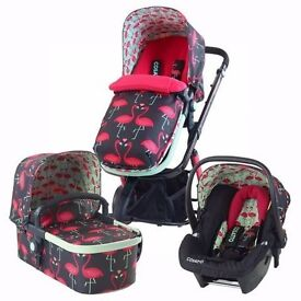 Cosatto Giggle travel system 3 in 1 in Flamingo Fling