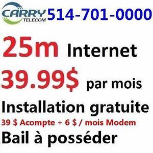 Illimite 25M/10M $39,99/month, un fois 99$ frais de wifi modem applique, installation gratuit, Free dry loop