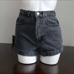 NEW American Apparel Denim High Waist Black Wash Shorts