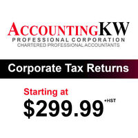 Corporate (T2) Tax Returns for only $299.99*+HST