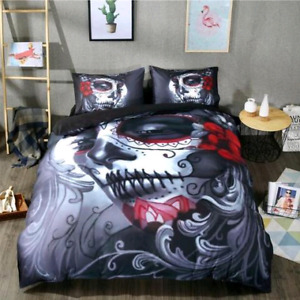 Day of the dead queen size bedding set.