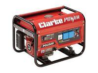 Clarke PG2500 2.2 kva petrol generator 230v used twice still boxed collect cb1