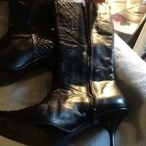 Boots(black genuine leather-7&9-rubber), black dress, other