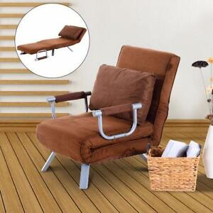 Brown Convertible Bed Chair / Brown Single Sofa Bed with Pillow