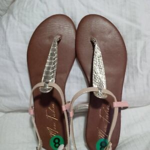 Mark Fisher Gold Flat Thong Sandals - size 8 brand new
