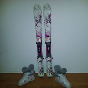 Girls Skis Boots and Helmet