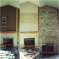 Brick and Stone Work on fireplace or 3D wall!