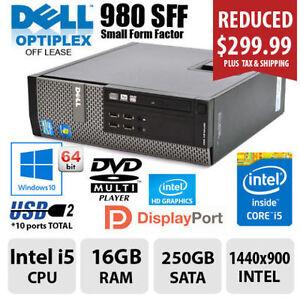 Desktop DELL 980 CORE i5 16GB RAM 250GB SATA Windows10