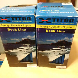 "2 BOXES OF 3/8"" 15' FOOT TITAN BLUE DOCK LINE - BRAND NEW!"