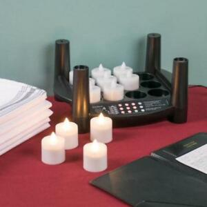 12 Piece Warm White Rechargeable Flameless Tea Light Replace *RESTAURANT EQUIPMENT PARTS SMALLWARES HOODS AND MORE*
