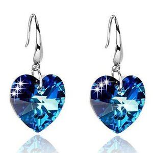 Pair of Graceful Faux Sapphire Heart Earrings