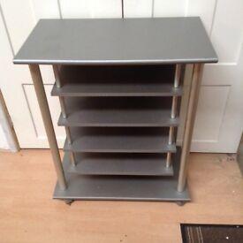 Wooden shelf unit on wheels