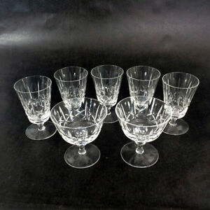 7 Fine Crystal Cordial Glasses Short Stem Coupe Wine Chantilly