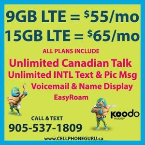 KOODO 9GB LTE $55/mo, 15GB LTE $65/mo + UNLTD CAD Talk & INTL Text  ~ Plans By Cell Phone Guru