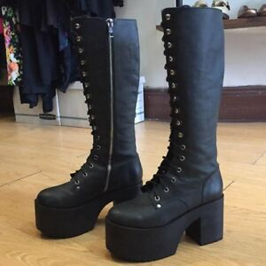 New* Never Worn* Leather Platform Boots 9