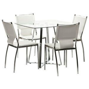 table verre et chromée neuve