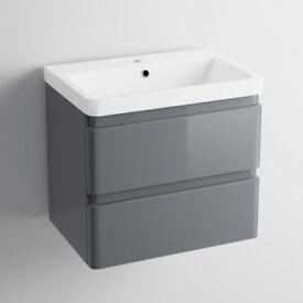 *NEW* SOAK 600mm Denver II Gloss Grey Wall Hung Basin Drawer Unit