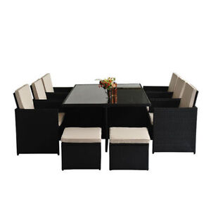11 Pc Patio Sofa Set with Dinning Glass Top Table