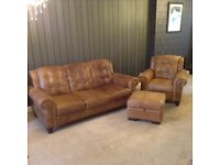 Leather settee and armchair+footstall