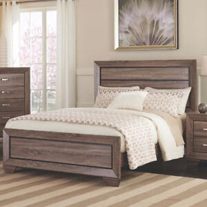 BRAND NEW! WASHED TAUPE FINISH WITH GRAYISH BROWN TONE QUEEN BED