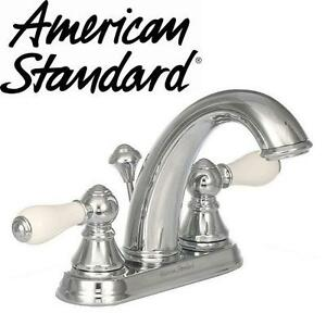 "NEW AS CENTERSET BATHROOM FAUCET AMERICAN STANDARD, WILLIAMSBURG, 4"", 2 HANDLE, MID ARC, POLISHED CHROME 102288150"