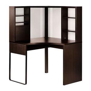 Bureau Ikea MICKE poste de travail d'angle brun foncé