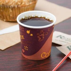 4 oz. Poly Paper Hot Cup with Coffee Design - 1000 / Case *RESTAURANT EQUIPMENT PARTS SMALLWARES HOODS AND MORE*