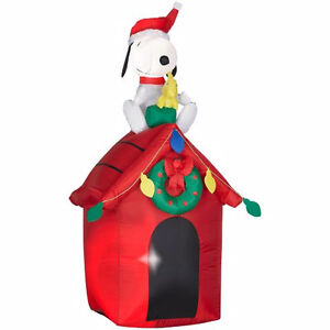Inflatable Snoopy On Dog House, 4-ft