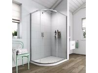 Shower tray & enclosure 80 x 1000 mm right hand curved Brand New!
