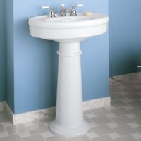 New Pedestal sink with base new unopened with matching faucets