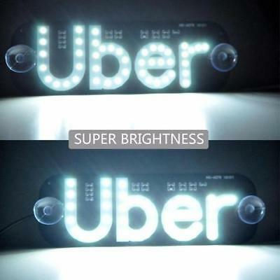 Uber LED sign light window driver taxi sign WHITE light up sign uber for sale  Shipping to Canada
