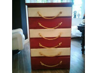 Chest of Drawers Shabby Chic Red and Cream with rope handles