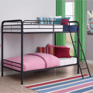 Contemporary Design, Durable Frame Twin/Twin Metal Bunk Bed