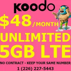 Unlimited 5GB LTE Data Plan! $48/mo! Keep Same #! No Contracts!