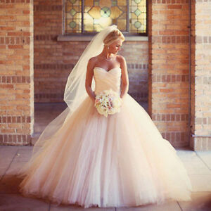 Stunning Wedding Dress! Peachee color! ONE OF A KIND PLUS VEIL!