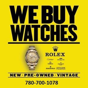 EDMONTON WATCH BUYER • WE BUY ROLEX CARTIER ETC ►780-700-1078◄