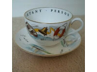 Very Important Person Cup & Saucer Nautical Royal Worcester Fine Bone China
