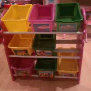 Dora  Toy  Organizer Bins on Shelves