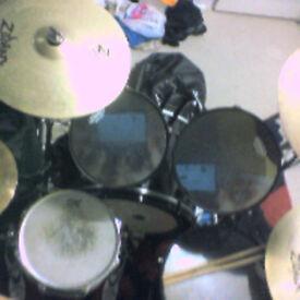 nice complete black drum set for sale