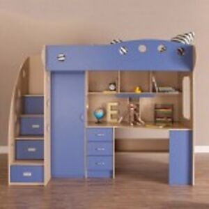 Bed, Loft bed and desk combo