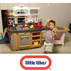 NEW LITTLE TIKE COOK AROUND KITCHEN KIDS TOY KITCHENS PLAYSETS OVEN STOVE SINK MICROWAVE FRIDGE ISLAND CART 109609770