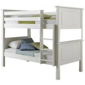 SPECIAL SALE- Same Day Delivery! New Wooden Bunk Bed in Oak or White Finish -CONVERTIBLE BUNK BED