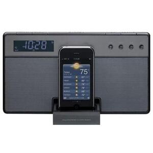 Audio system with built-in dock for iPod and iPhone and clock ra