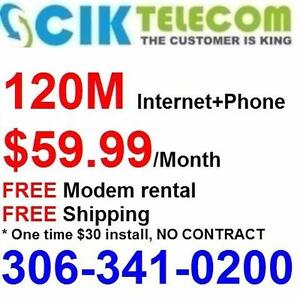 FREE modem, FREE Shipping, 120M unlimited internet + Phone services (10 features with FREE LD) $59.99, call 306-341-0200