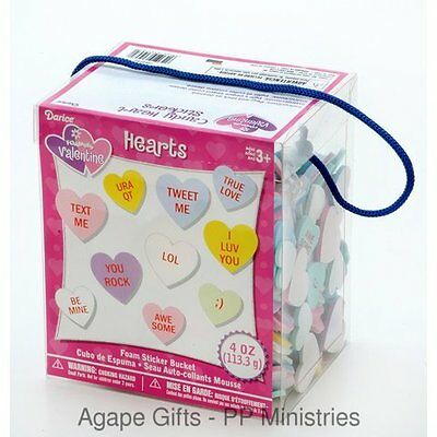 Darice Foamies Valentine Conversation Foam Heart Stickers - 4oz. Bucket